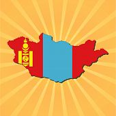 Mongolia map flag on sunburst illustration