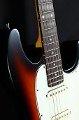 Six-string electric guitar closeup