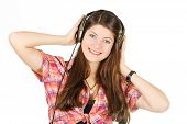 a portrait of girl in headsets with long hair