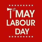 Poster, banner or flyer design with stylish text 1st May, labour day on red background.