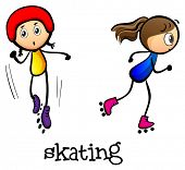 Illustration of the two girls skating on a white background