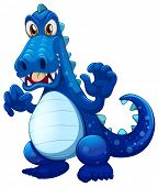 Illustration of a scary blue crocodile on a white background