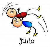 Illustration of the stickmen doing judo on a white background