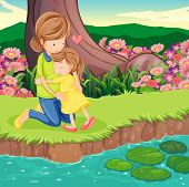 image of landforms  - Illustration of a mother hugging her daughter at the riverbank - JPG