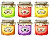 Illustration of the six different jams on a white background