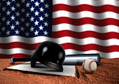 Baseball Bat With Helmet And American Flag