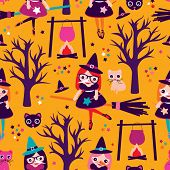 Seamless girls halloween witch and broom illustration kitten background pattern in vector