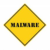stock photo of malware  - A yellow and black diamond shaped road sign with the word MALWARE making a great concept - JPG