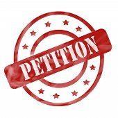 picture of petition  - A red ink weathered roughed up circles and stars stamp design with the word PETITION on it making a great concept - JPG