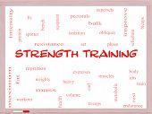 Strength Training Word Cloud Concept On A Whiteboard