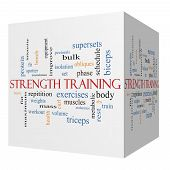 Strength Training 3D Cube Word Cloud Concept