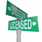 Licensed vs Unlicensed Words Street Road Sign Choice Decide
