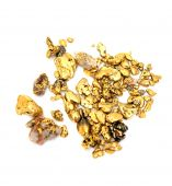 picture of gold nugget  - Gold nuggets of various sizes and shapes isolated on a white background