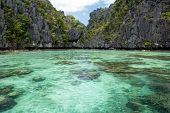 The small lagoon entrance in the Miniloc island, El Nido, Philippines