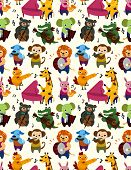 pic of poodle  - seamless animal music pattern