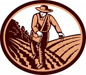 pic of oval  - Illustration of organic farmer with satchel bag sowng seeds in farm field set inside oval shape done in retro woodcut style - JPG