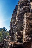 Faces of ancient Bayon Temple At Angkor Wat, Siem Reap, Cambodia