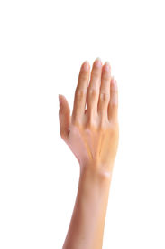 picture of nonverbal  - Woman hand raised up - JPG
