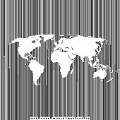 empty shape world map on background from bar code lines