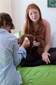 picture of teen pregnancy  - Young girl tell her mother about pregnancy - JPG