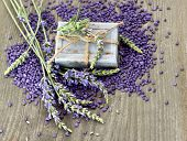 Herbal Soap And Bath Salt With Fresh Lavender Flowers