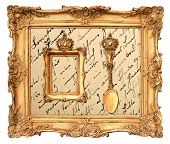 Old Golden Frame With  Vintage Background