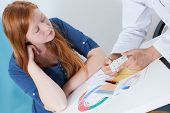 picture of gynecologist  - Young woman talking about contraception with gynecologist - JPG