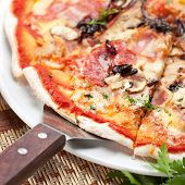 Pizza with Barbecue Chicken, Sausage, Bacon, Onions and Mushrooms