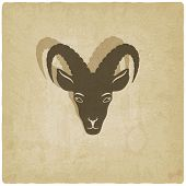Goat head symbol old background