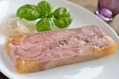 Beef tongue in aspic with basil and horseradish