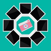 Instant Photo Circle With Camera Camera In Flat Design Style. Love Card.