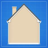 picture of blueprints  - Architecture background with detailed house on a blueprint - JPG