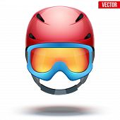 Front view of Classic red Ski helmet and blue snowboard goggles. Vector isolated on white background