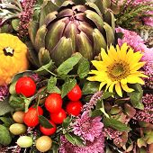 Artichoke, Tomatoes And Flowers Arrangement