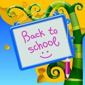 Back to school banner with a blue child's board and pink felt-tip pen on decorative autumnal tree; vector illustration