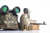 military equipment with helmet, and binoculars