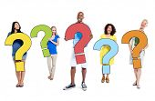 Multi-Ethnic Group of People Holding Question Marks