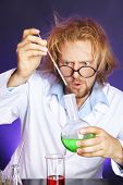 image of mad scientist  - Crazy scientist working in laboratory - JPG