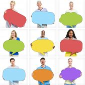 Multi-Ethnic Group of People with Empty Speech Bubbles