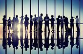 Silhouettes of Business People Working Together