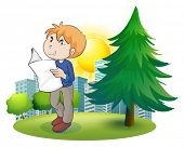 Illustration of a man reading newspaper near the pine tree on a white background