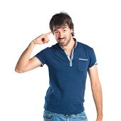 stock photo of sarcasm  - Man making crazy gesture over white background - JPG