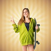 Girl With Thumb Up Over Pop Background