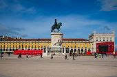 Statue Of King Jose I On The Commerce Square (praca Do Comercio) In Lis