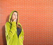 Girl Doing Surprise Gesture Over Textured Background