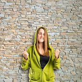 Lucky Blonde Girl Over Isolated Textured Background
