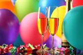 New Year celebration,Champagne and balloons.