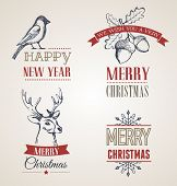 collection of Christmas calligraphic and typographic design with labels, symbols and elements. Hand