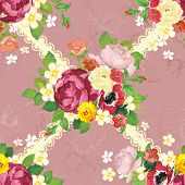 Vector seamless pattern with beautiful peonies