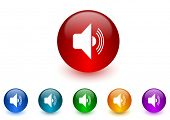 volume internet icons colorful set
